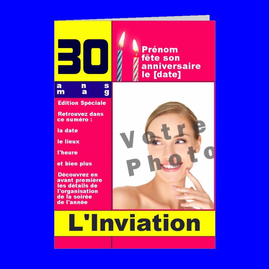Carte Invitation Anniversaire Magazine Journal Rose avec photo à imprimer (carte 52)
