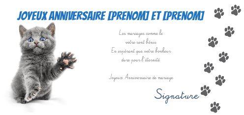 Carte Anniversaire Mariage Chat Humour Bleu Gratuit à Imprimer
