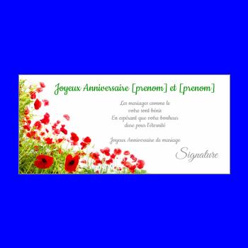 carte anniversaire mariage fleur vert noce rouge