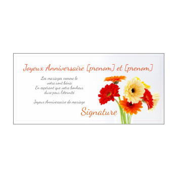 carte anniversaire mariage fleur noce jaune rouge orange