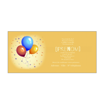 carte invitation anniversaire ballon bleu jaune orange