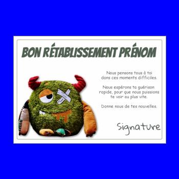 carte retablissement humour vert peluche