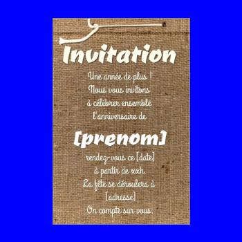 Carte d'invitation à un anniversaire adulte à imprimer gratuit