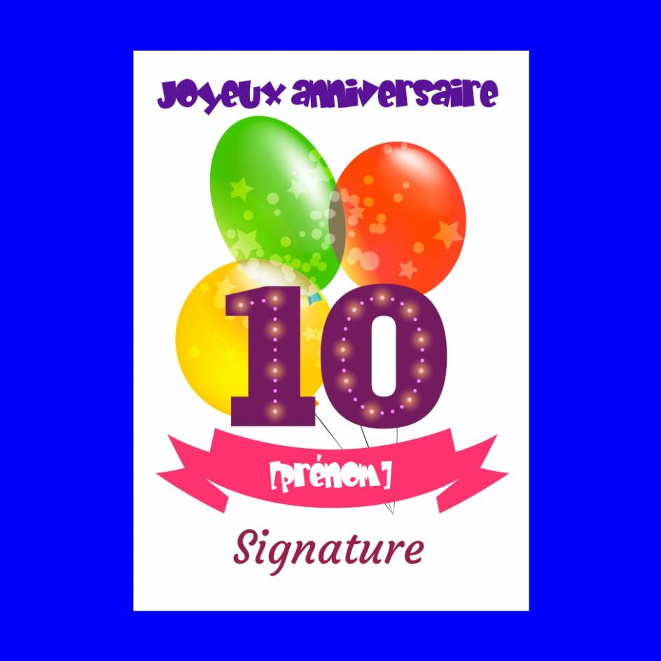 Carte Joyeux Anniversaire 10 Ans Ballon Gratuit A Imprimer Carte 2600