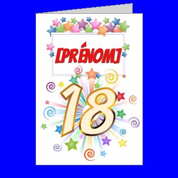 carte anniversaire joyeux vert jaune rouge etoile 18 ans