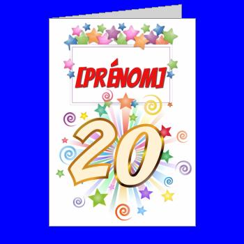 carte anniversaire joyeux 20 ans vert jaune rouge etoile
