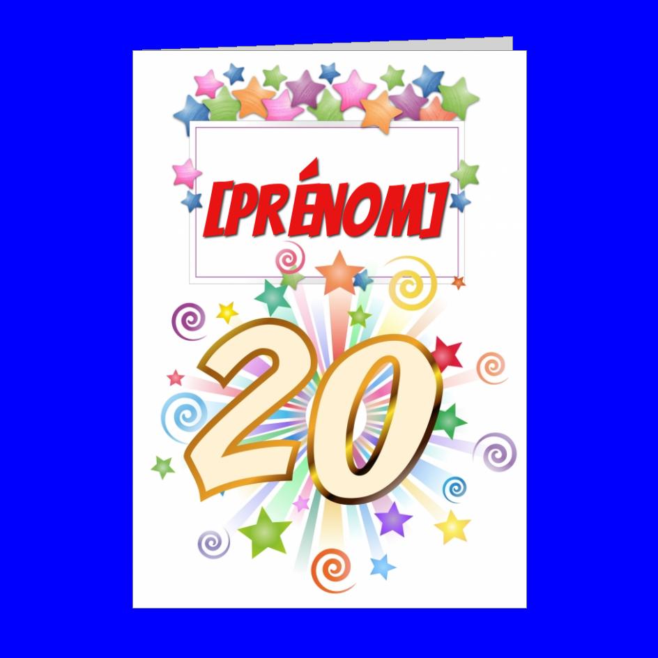 Carte Joyeux Anniversaire 20 Ans Vert A Imprimer Carte 1352