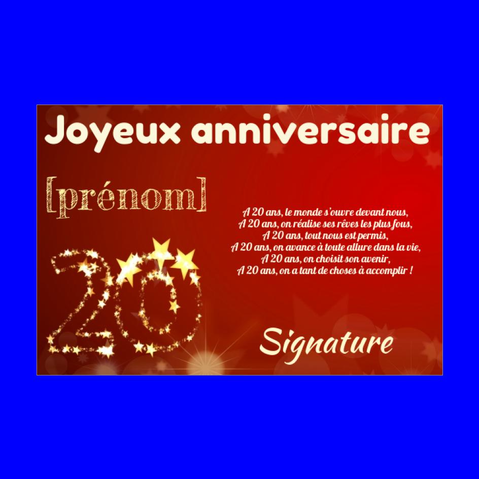 Carte Joyeux Anniversaire 20 Ans Jaune Gratuit A Imprimer Carte 2050
