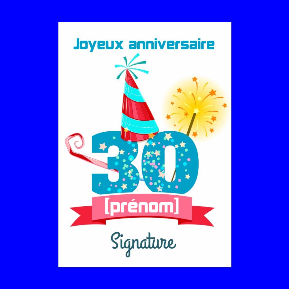 Carte Joyeux Anniversaire 30 Ans Chapeau Gratuit A Imprimer Carte 2602