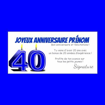 carte anniversaire joyeux 40 ans bougie bleu