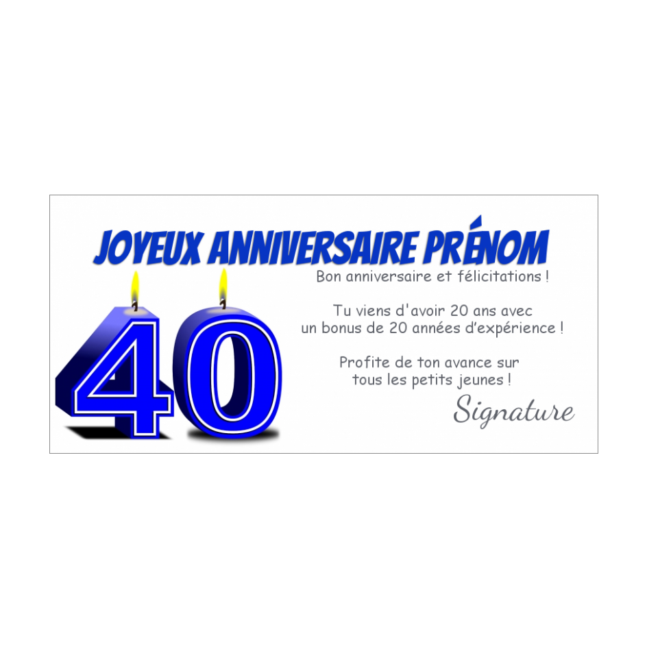 Carte Joyeux Anniversaire 40 Ans Bougie Gratuit A Imprimer Carte 1339