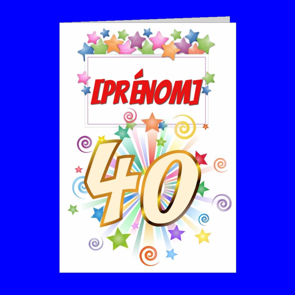 Carte Joyeux Anniversaire 40 Ans Vert A Imprimer Carte 1354