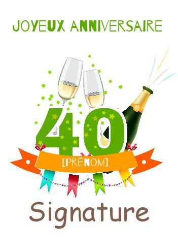 Carte Joyeux Anniversaire Champagne 40 Ans Gratuit A Imprimer Carte 2603