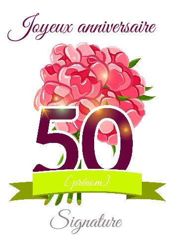 Carte Anniversaire 50 Ans Carte Joyeux Anniversaire 50 Ans Achat Carte D