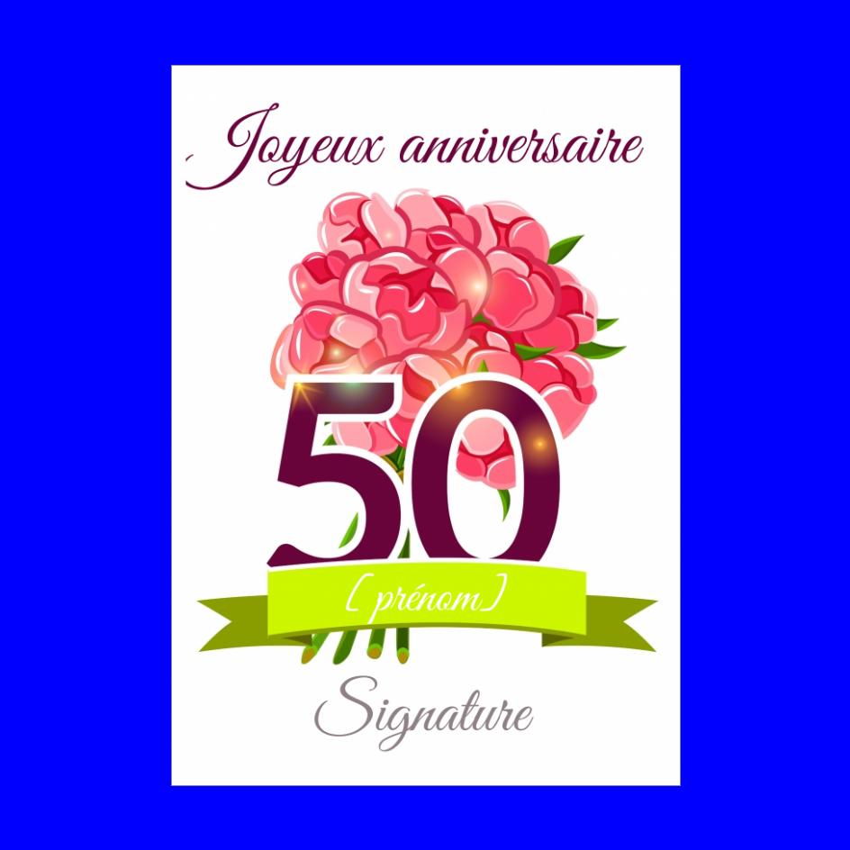 Carte Joyeux Anniversaire 50 Ans Fleur Gratuit A Imprimer Carte 2604