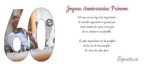 Carte Joyeux Anniversaire 60 Ans Blanc Avec Photo A Imprimer Carte 1347