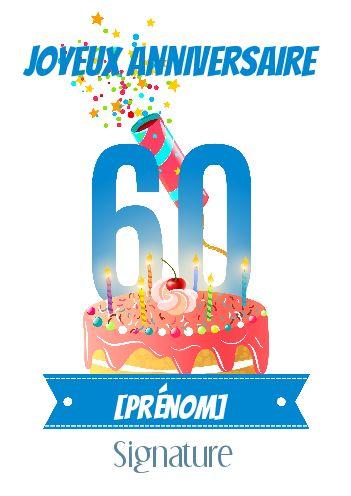 Carte Joyeux Anniversaire 60 Ans Gateau Gratuit A Imprimer Carte 2605