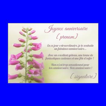 carte anniversaire joyeux fleur mauve