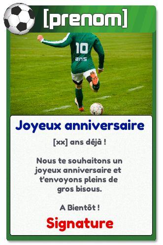 carte joyeux anniversaire foot gratuite à imprimer Carte Joyeux Anniversaire 10 Ans Football gratuit à imprimer