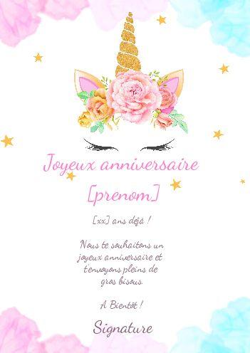 Invitation Anniversaire Licorne à Imprimer Gratuit.Carte Joyeux Anniversaire Fleur Enfant Rose Gratuit A