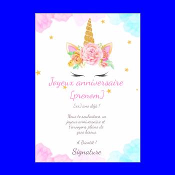 Carte D Anniversaire Licorne Gratuit A Imprimer Ou A Envoyer