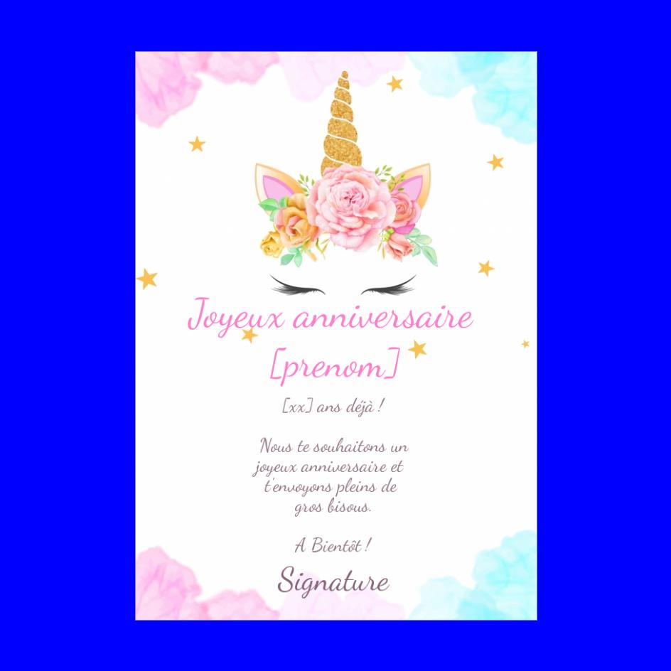 Carte Joyeux Anniversaire Licorne Fleur Enfant Gratuit A Imprimer Carte 2619