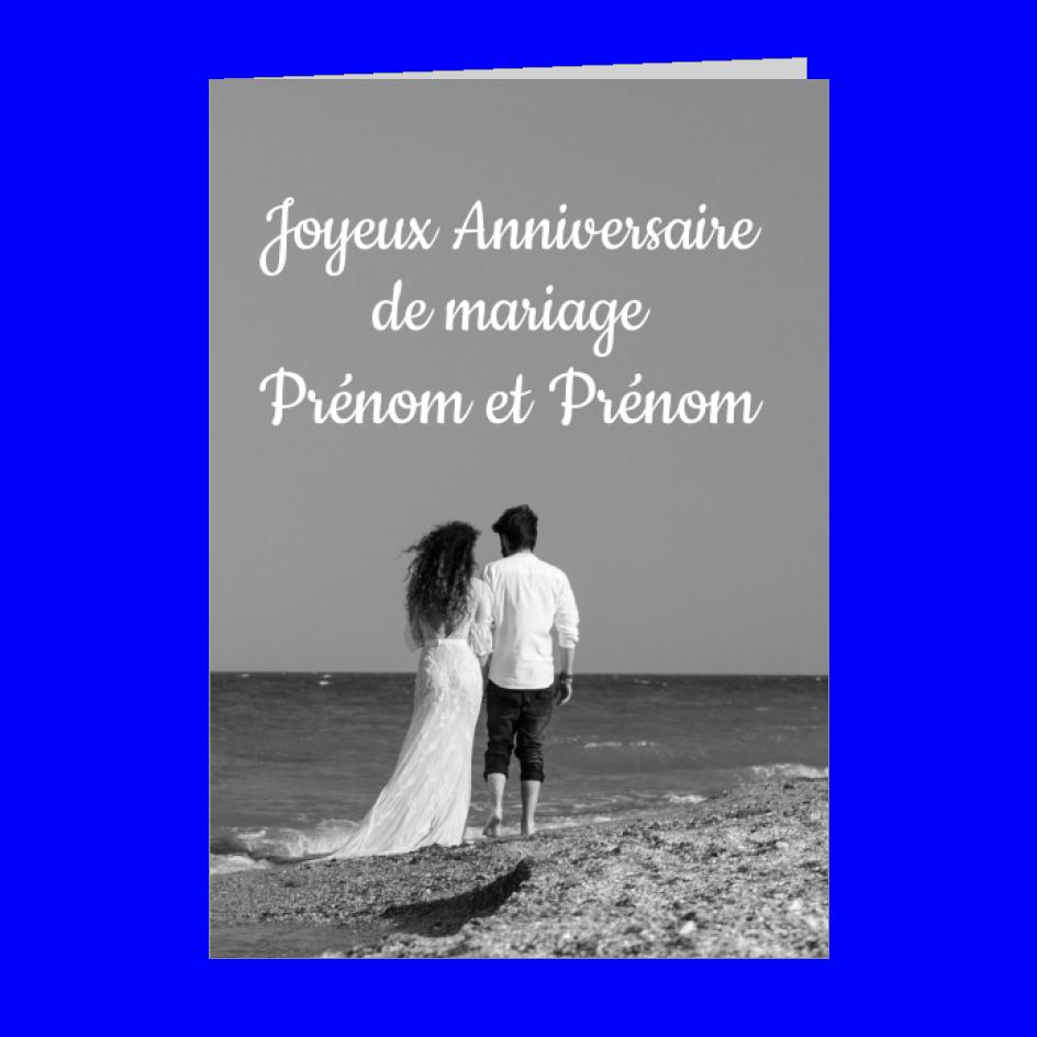 Carte Anniversaire Mariage Plage Noce Noir A Imprimer Carte 671