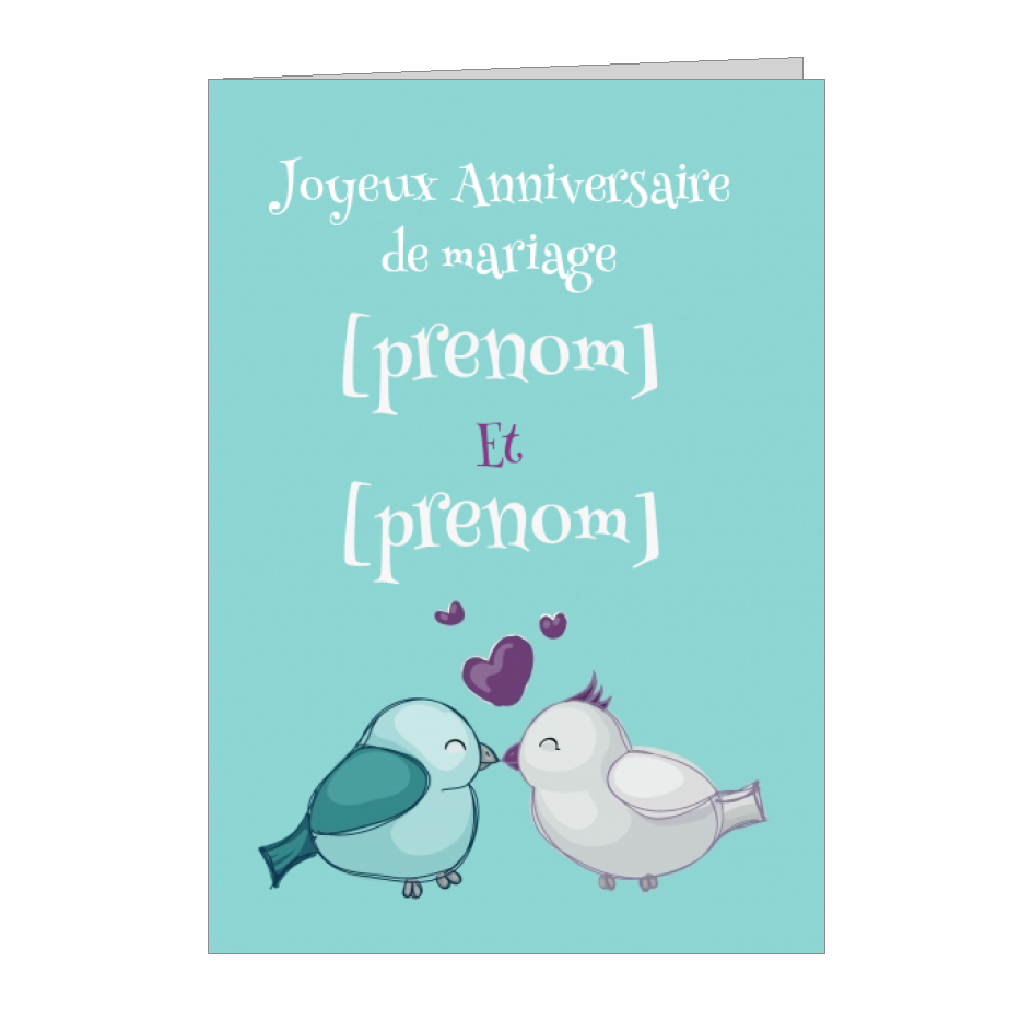 Carte Anniversaire Mariage Coeur Oiseau Bleu A Imprimer Carte 672
