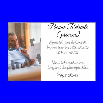 carte felicitation voeux retraite blanc
