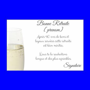 carte felicitation voeux retraite champagne blanc
