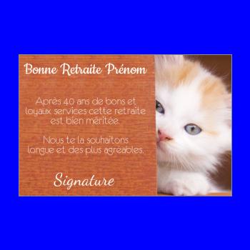 carte felicitation voeux retraite chat marron