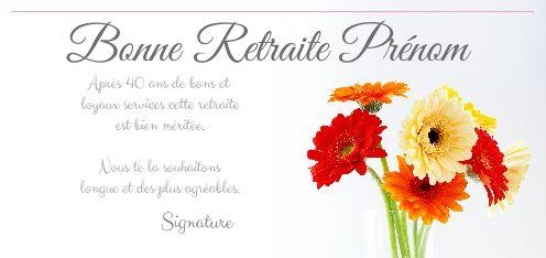 Carte felicitation voeux retraite fleur jardin gratuit - Modele carte de voeux gratuite a imprimer ...