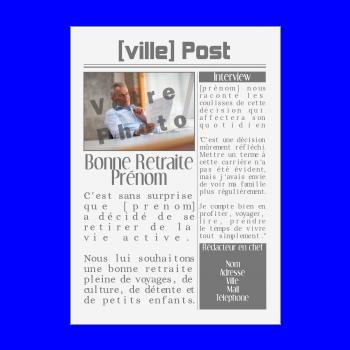 carte felicitation voeux retraite magazine journal noir blanc