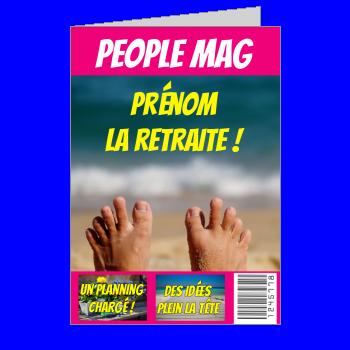 carte felicitation voeux retraite magazine journal plage mauve pied mer