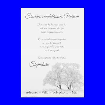 carte condoleances arbre blanc gris