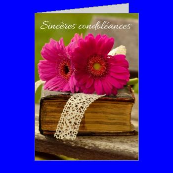 carte condoleances fleur vert mauve