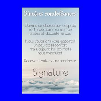 carte condoleances bleu nuage ciel