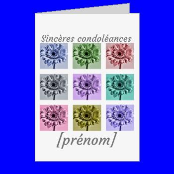 carte condoleances fleur mauve gris