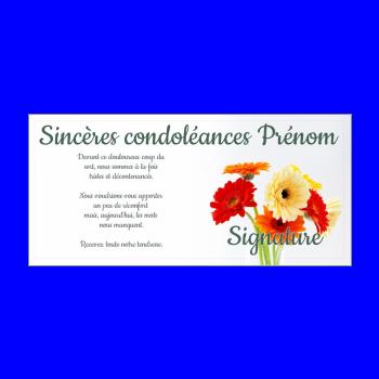 carte condoleances fleur jaune rouge