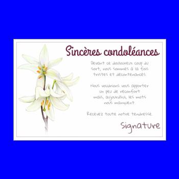 Carte Condoleances Fleur Blanc