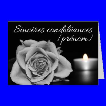 carte condoleances fleur bougie rose noir gris