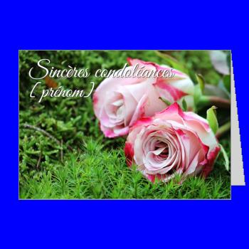carte condoleances fleur rose vert