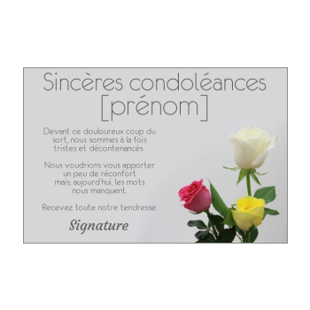 Carte De Condoléances à Imprimer Gratuit