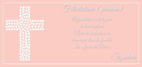 carte felicitation bapteme gratuite a imprimer Carte Felicitation Bapteme Coeur Rose Fille gratuit à imprimer