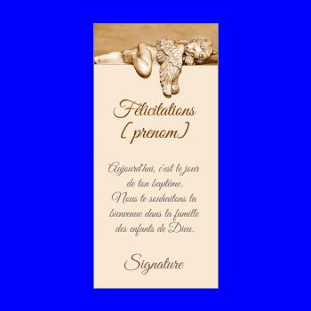carte felicitation bapteme ange marron