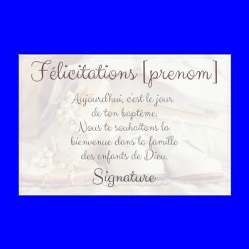 Carte De Félicitation Pour Un Baptême à Imprimer
