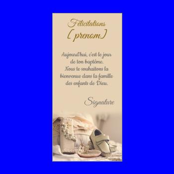 carte felicitation bapteme chaussure croix