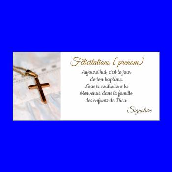 carte felicitation bapteme blanc croix
