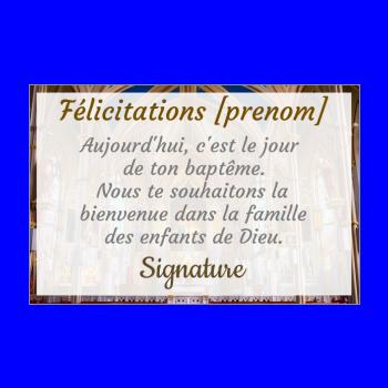 carte felicitation bapteme eglise