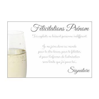 carte felicitation champagne blanc